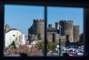 The view from Number 18s Castle Suite in Conwy